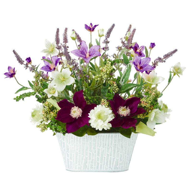 Alcott Hill Artificial Flower Mixed Floral Arrangements In Vase Reviews Wayfair