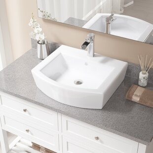 Best Reviews Specialty Vitreous China Specialty Vessel Bathroom Sink with Faucet and Overflow ByMR Direct