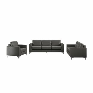 Shupe 3 Piece Leather Living Room Set by Mercury Row