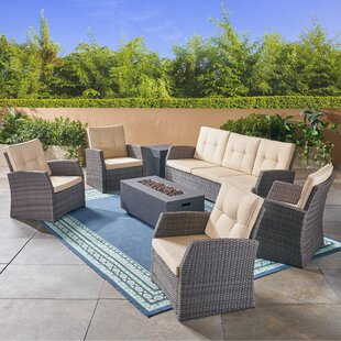Farrar Outdoor 7 Piece Rattan Sofa Seating Group with Cushions