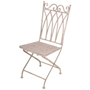Aged Metal Folding Patio Dining Chair