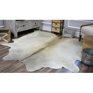 Check Prices Sarah Hand-Woven Cowhide Gray/White Area Rug By Millwood Pines