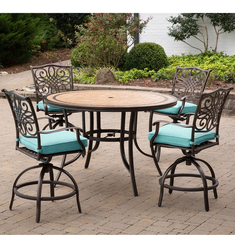 Bucci 5 Pieces High Dining Set With Cushions