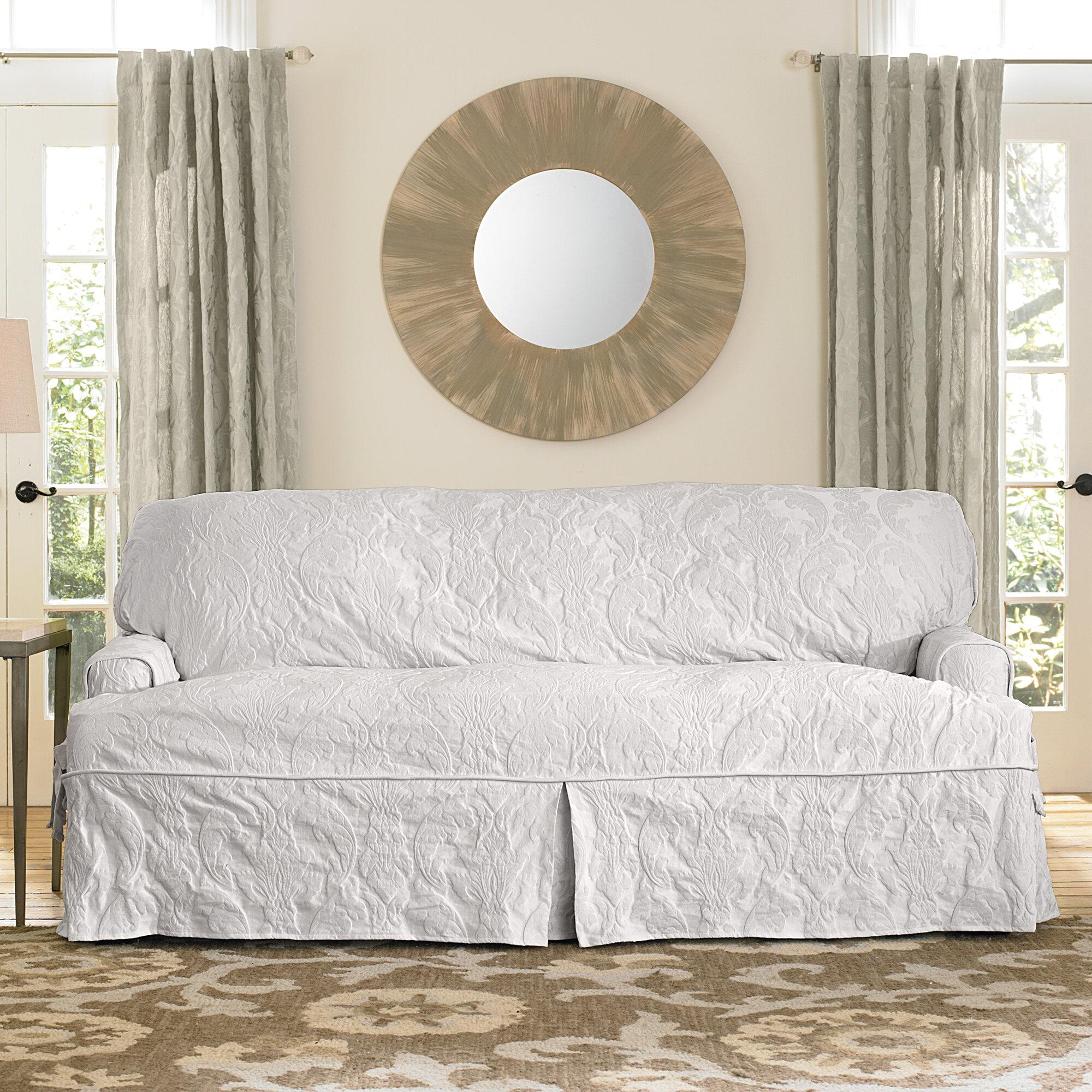 Sure Fit Matelasse Damask T Cushion Sofa Slipcover Reviews Wayfair