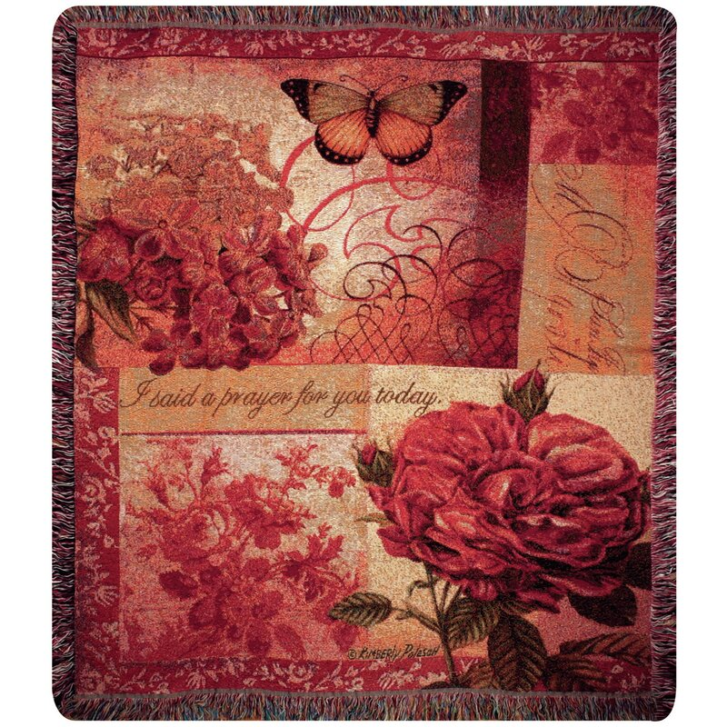 Spring Blooms Verse Tapestry Cotton Throw
