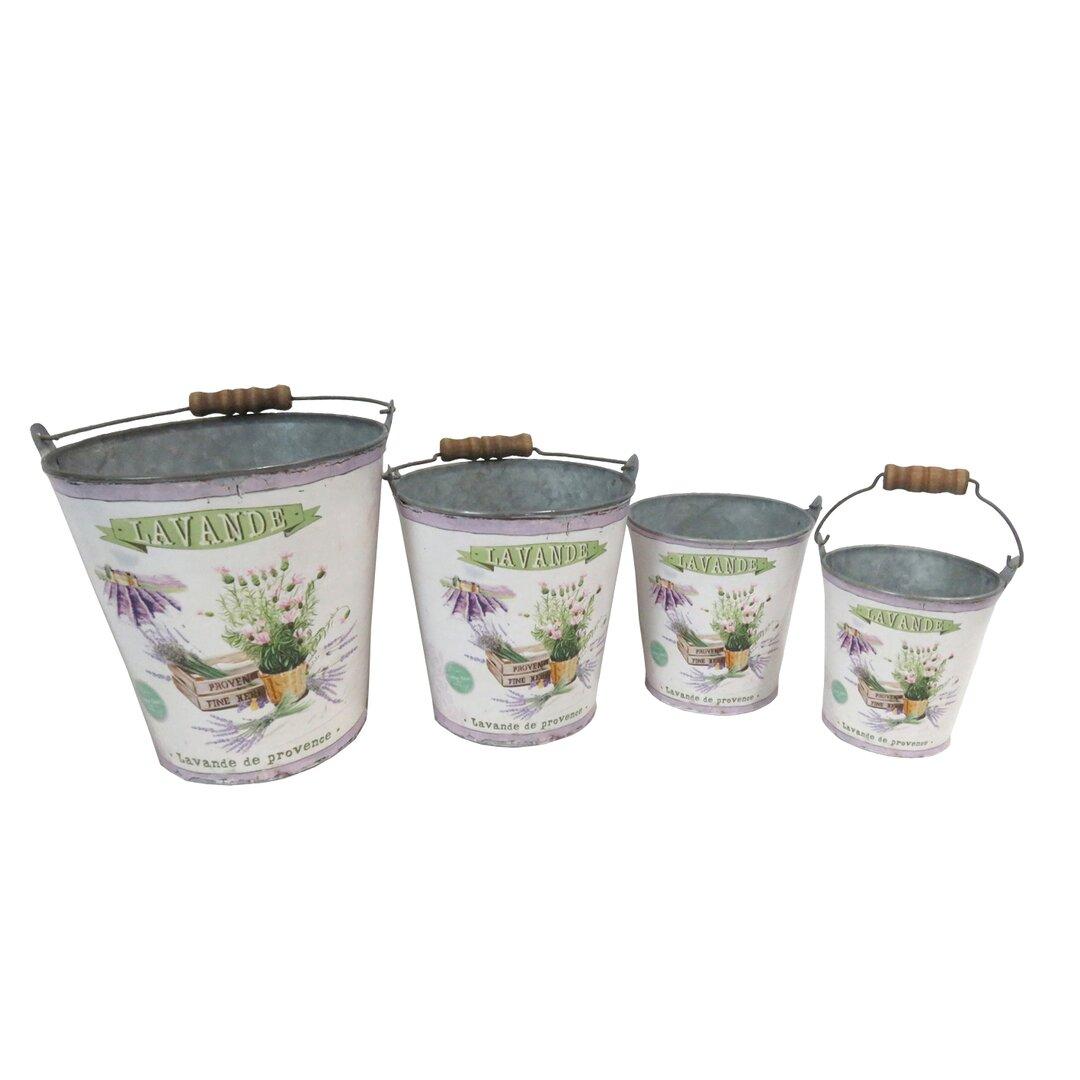 Lourdes Lavender 4 Piece Metal Plant Pot Set