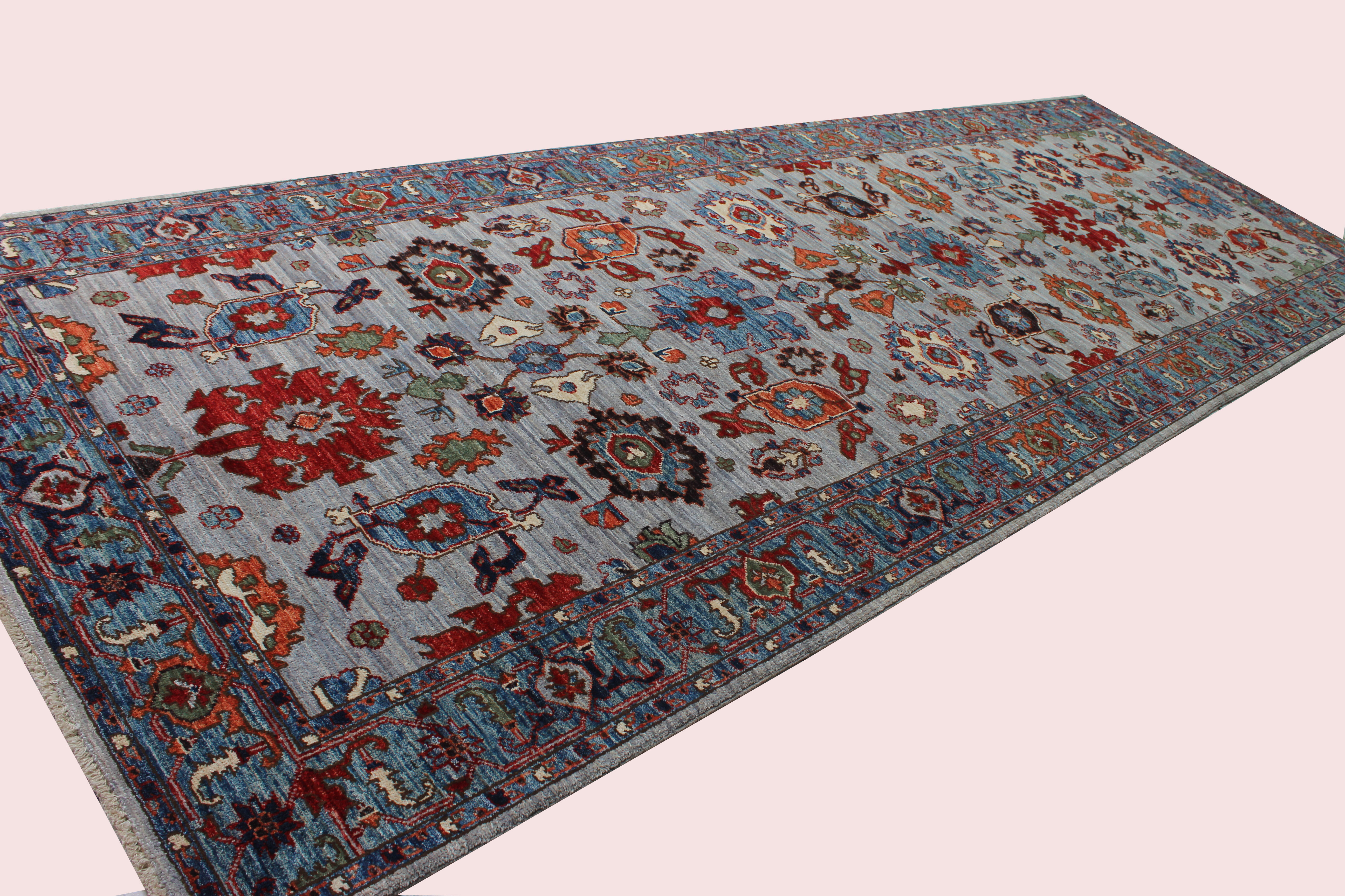 Bokara Rug Co Inc Runner Aryana Oriental Hand Knotted Wool Gray Light Blue Area Rug Wayfair