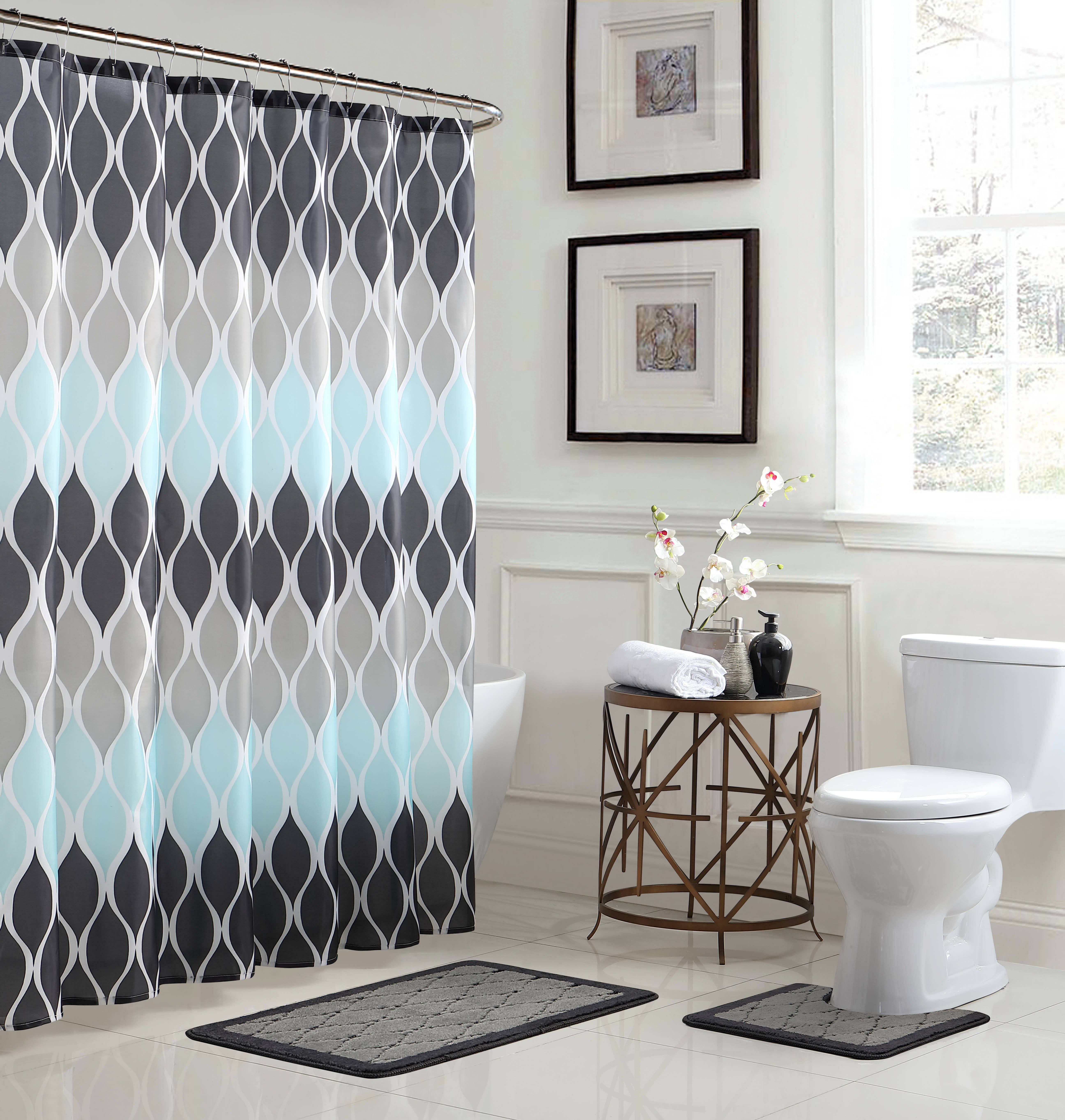 Charlton Home Mcginty 3 Piece Geometric Shower Curtain Liner Reviews Wayfair