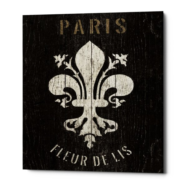 'Refurbished Fleur-de-lis' Framed Acrylic Painting Print on Canvas