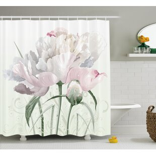 Singleton Pink Roses Tulips Abstract Leaves With Petals And Buds Detailed Print Image Single Shower Curtain by Winston Porter Design