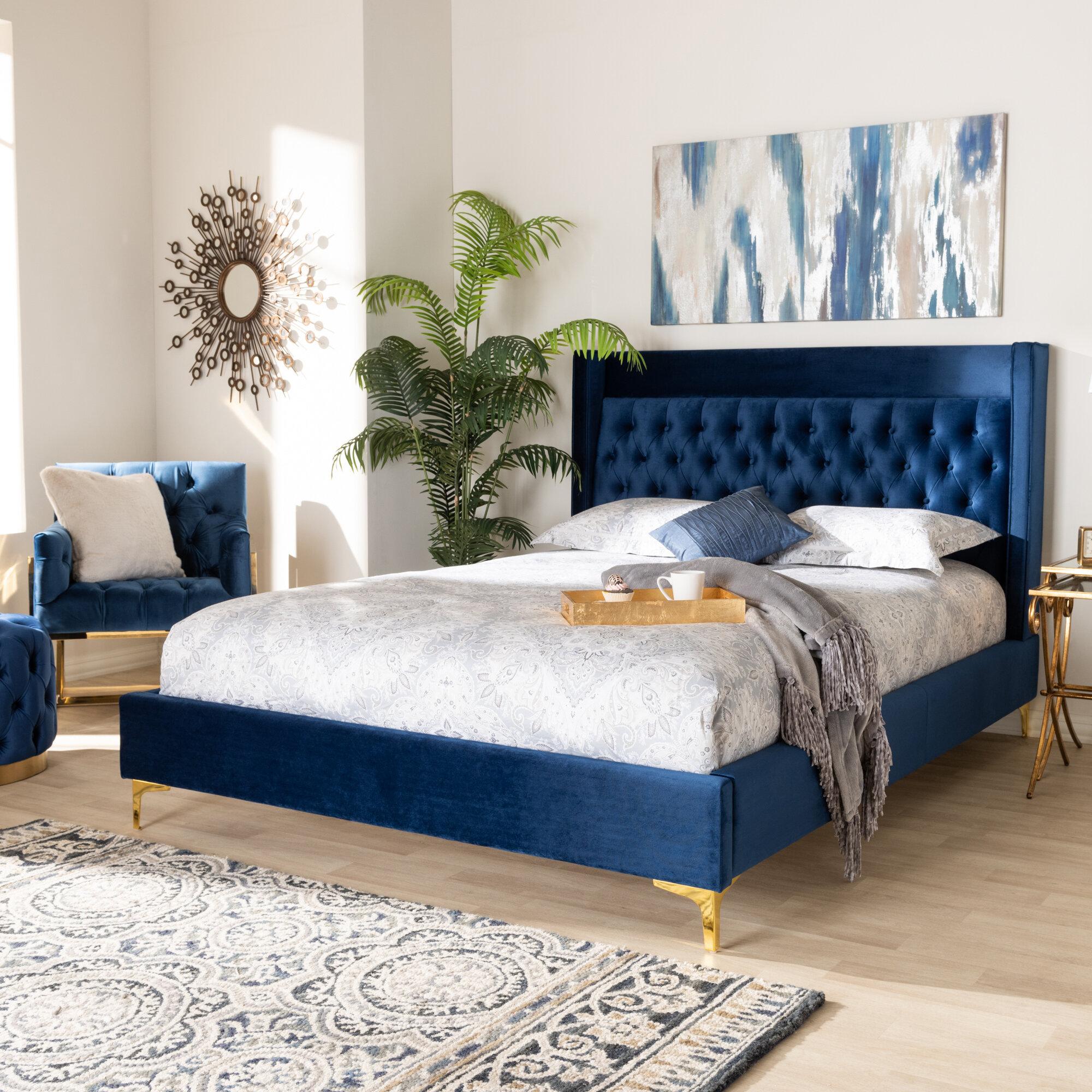 Mercer41 Maude Velvet Upholstered Platform Bed Reviews Wayfair