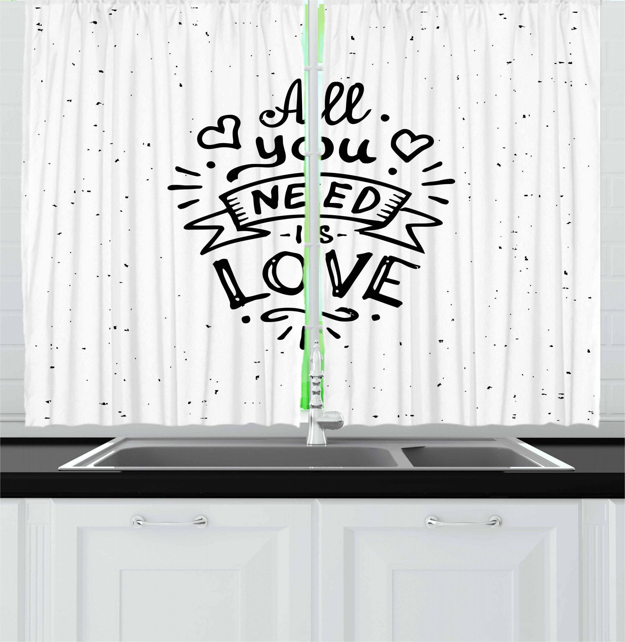 East Urban Home Love 2 Piece Kitchen Curtain Set Wayfair