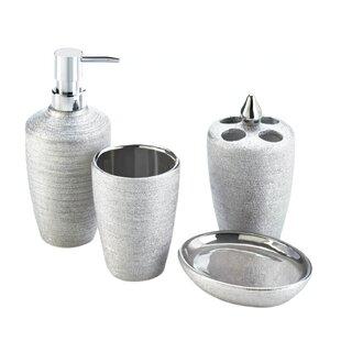 Blace 4 Piece Shimmer Bathroom Accessory Set