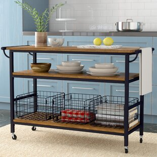 Fresnay Kitchen Cart with Wooden Top by Laurel Foundry Modern Farmhouse