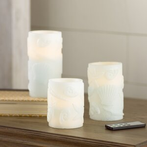 3 Piece Seashell Embossed Flameless Wax Pillar Candle Set with Remote