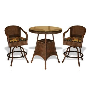Fleischmann 3 Piece Bar Height Dining Set with Cushions