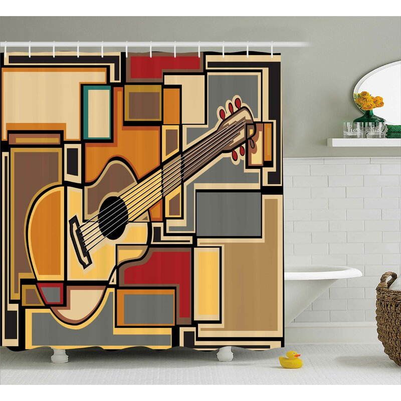 Merveilleux Auburn Geometric Guitar Decor Shower Curtain
