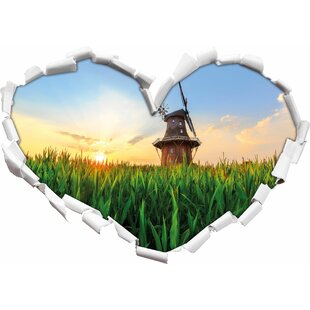 Beautiful Windmill In A Field Wall Sticker By East Urban Home