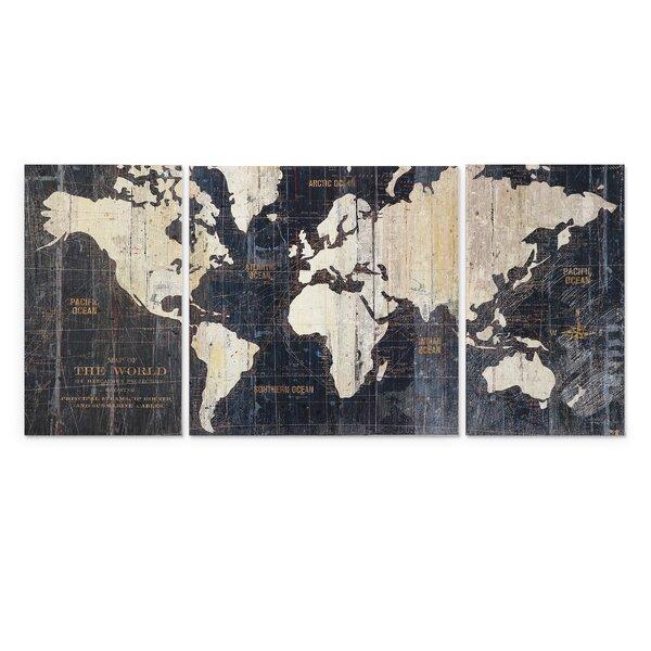 U0027Old World Map Blueu0027 3 Piece Graphic Art On Wrapped Canvas Set. U0027
