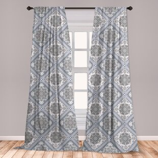 Ambesonne Turkish Pattern Curtains, Complex Swirl Art Motifs With Persian  Origins In Pale Colors, Window Treatments 2 Panel Set For Living Room ...