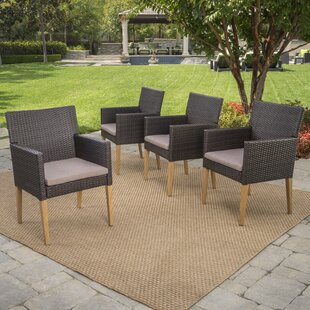 Lonnie Wicker Patio Dining Chairs with Cushions