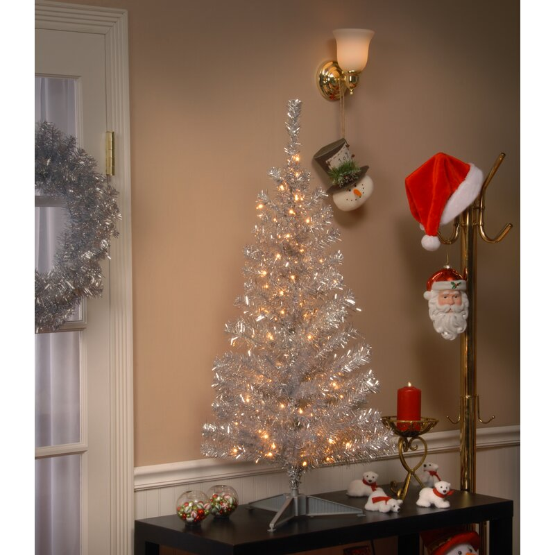 The Holiday Aisle Tinsel Trees 4' Silver Artificial ...