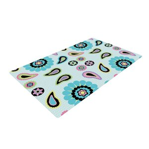 Nina May Paisley Candy Flower Blue Area Rug