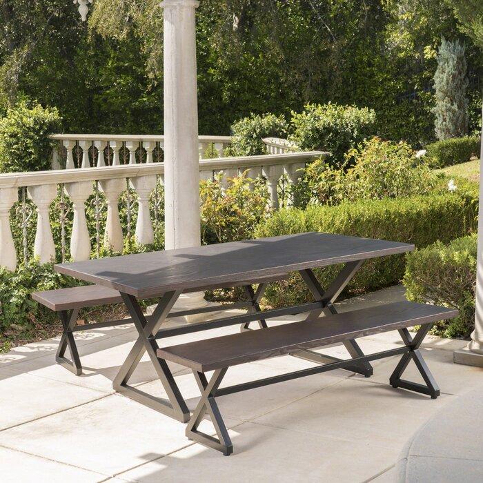 Fabulous Lal Outdoor Aluminum 3 Piece Dining Set Machost Co Dining Chair Design Ideas Machostcouk