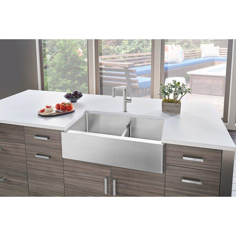 "Kitchen Sink 19 X 33: Blanco Quatrus R15 33"" L X 19"" W Double Basin Farmhouse"