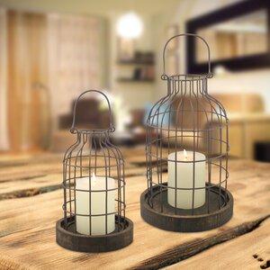 Stonebriar 2 Piece Metal/Wood Cloche Lantern Set