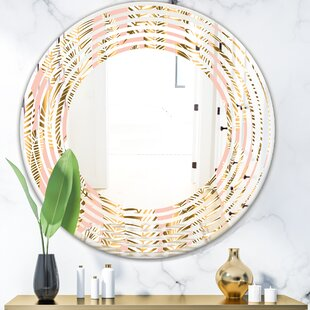 Wave Palm Leaves I Coastal Frameless Wall Mirror