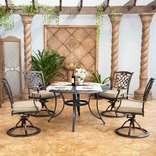 Sannois Outdoor 5 Piece Dining Set With Cushions By Fleur De Lis Living