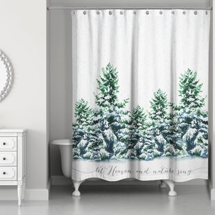Liz Snowy Winter Forest Single Shower Curtain