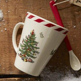 Christmas Tree Peppermint Mug with Spoon (Set of 2)