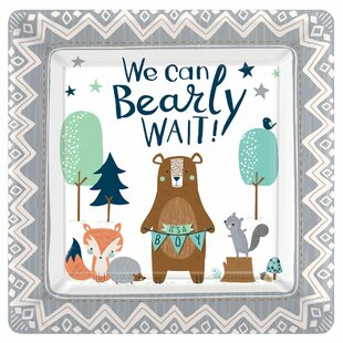 Bearly Wait Baby Shower Square Paper Disposable Dinner Plate (Set of 32)