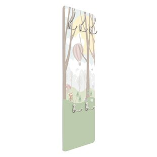 Sun With Trees And Hot Air Balloon Wall Mounted Coat Rack By Symple Stuff