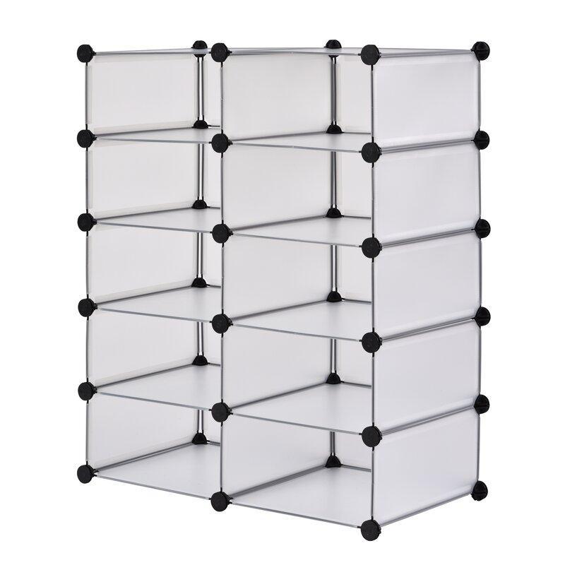 Superbe Modular Cube Storage 20 Pair Stackable Shoe Rack