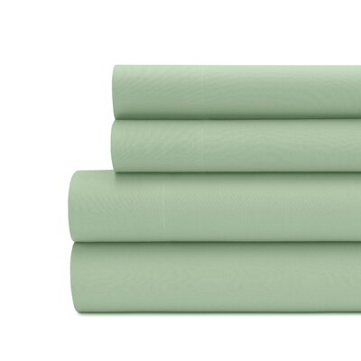 Briarwood Home 100% Cotton Solid Percale Sheet Set Size: King, Color: Spruce Green