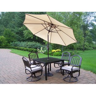 Lisabeth Traditional Dining Set with Cushions and Umbrella by Red Barrel Studio
