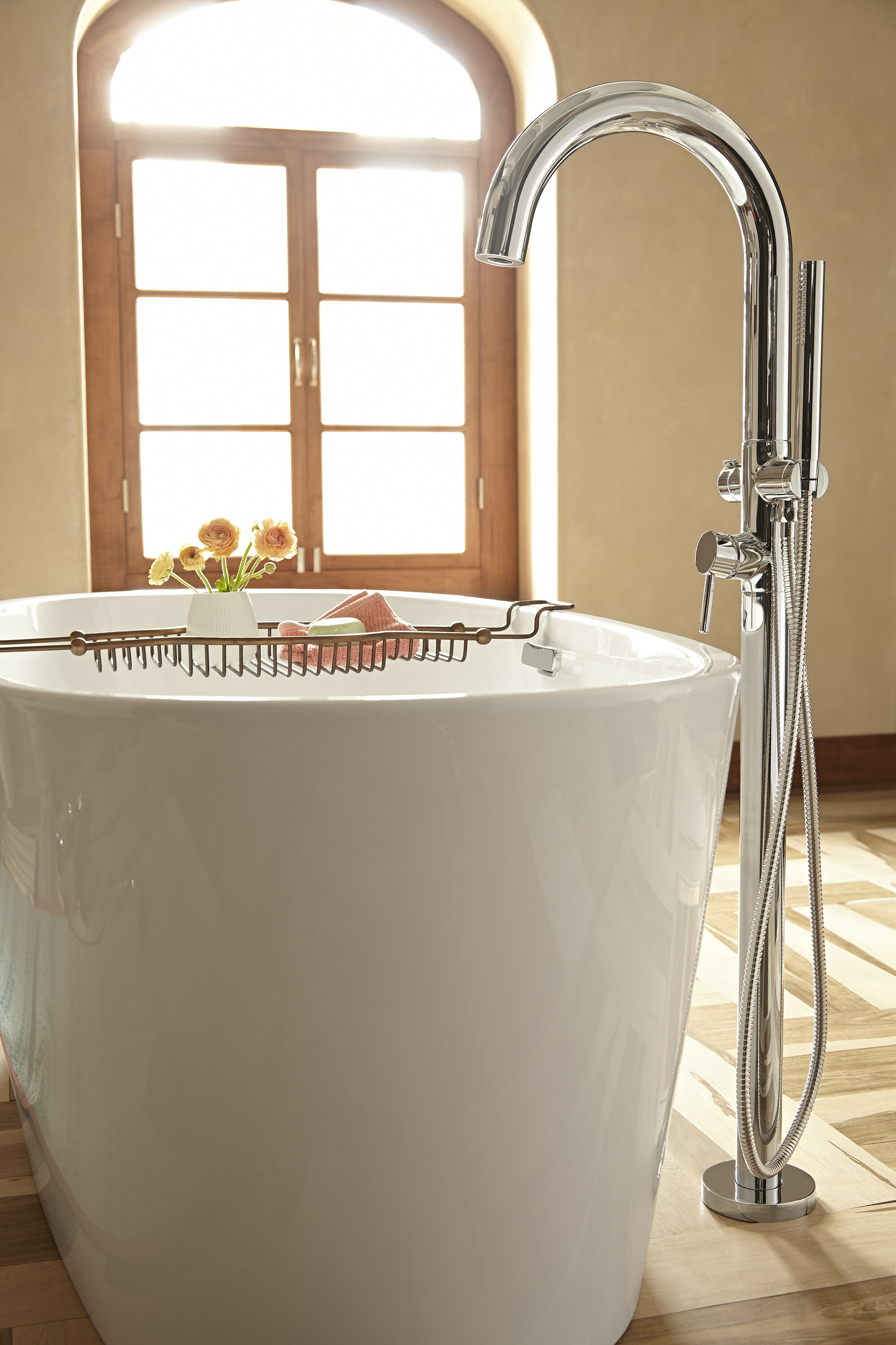 American Standard Single Handle Floor Mount Tub Filler with Personal ...