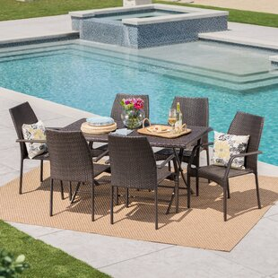 Jazzi Outdoor Wicker 7 Piece Dining Set b..