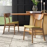 Lillis Solid Wood Wingback Side Chair in Natural Oak (Set of 2) by Mercury Row