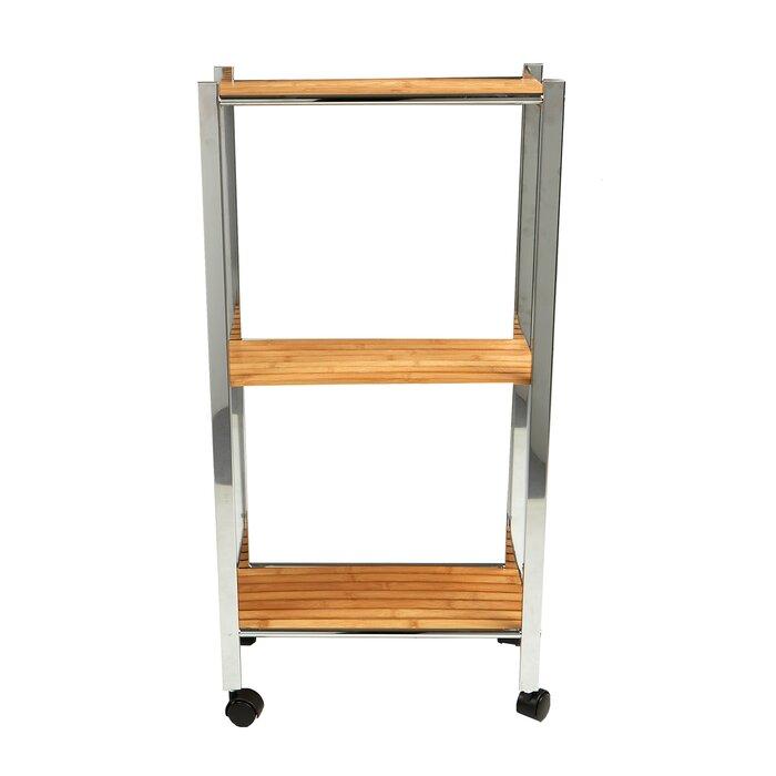 3 Tier Slim Eco Friendly Bamboo Kitchen Cart