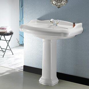 1837 Ceramic 35 inch  Pedestal Bathroom Sink with Overflow