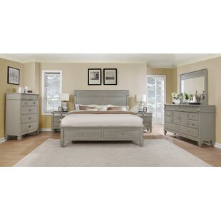 Vasilikos Solid Wood Construction Platform 5 Piece Bedroom Set