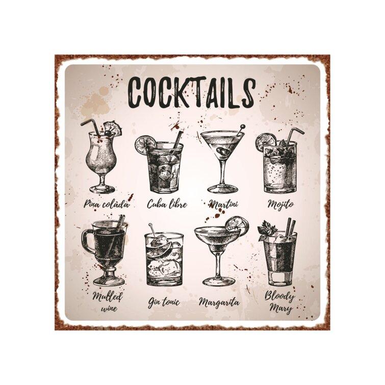 Cocktail Vintage Metal Wall Décor
