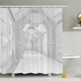 Looking for Outer Space, Extraterrestrial Construction to Visit Astronomical Bodies Cosmonaut Flight I Shower Curtain Set ByAmbesonne