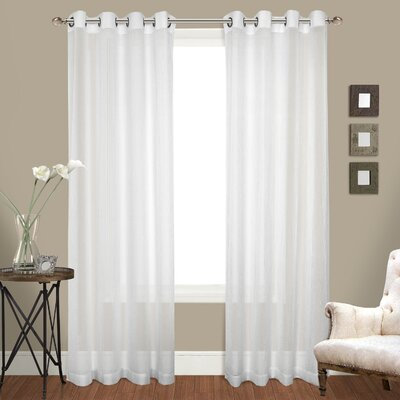 """United Curtain Co. Cranston Solid Sheer Grommet Curtain Panels Colour: White, Size per Panel: 50"""" W x 84"""" L"""