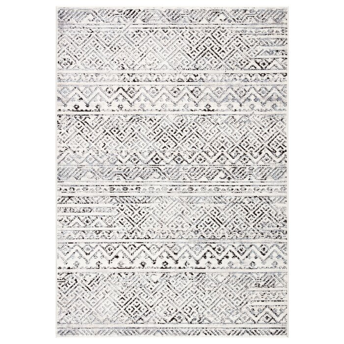 Shelbie Tribal White Black Area Rug