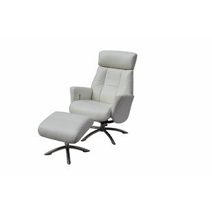 Mcclanahan Leather Manual Recliner with Ottoman Orren Ellis